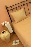 Bedroom. Modern yellow ochre light bedroom Stock Images