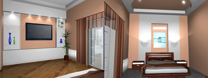 Bedroom. Modern interior. 3D render. Bedroom. Exclusive design stock illustration