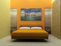 Bedroom. Design bedroom with artistic picture-digital artwork Royalty Free Stock Photography