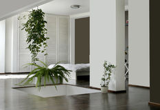 Bedroom. White bedroom with hanging flower Royalty Free Stock Images