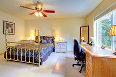 Bedroom with antique gold bed Stock Photo