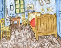 Bedroom In Arles By Vincent Van Gogh Adult Coloring Page Stock ...