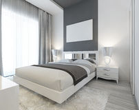 Bedroom in Art Deco style in white and gray colors. Royalty Free Stock Photos