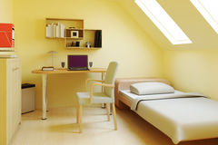 Bedroom in attic or loft. Realistic three dimensional illustration of bed in modern attic or loft room