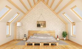 Bedroom in the attic Stock Image