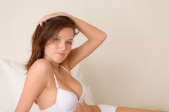 Bedroom - attractive woman in lingerie Royalty Free Stock Photo