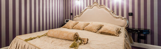 Bedroom in baroque style Stock Images