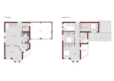 3 bedroom 2 bath residential house CAD architectural project vector illustration Royalty Free Stock Photography