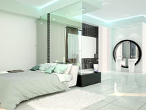 Bedroom with bathroom in a modern high-tech style. Stock Photography