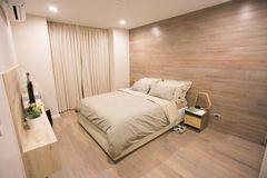Bedroom with a beautiful interior royalty free stock photography