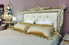 Bedroom with bed in baroque style Royalty Free Stock Images