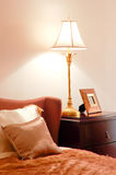 Bedroom with bed and lamp Stock Photography