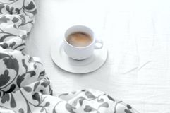 Bedroom, bed, morning coffee stock photography
