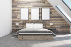 Bedroom with bedside tables. Wooden walls. Concept of comfortable appartment. 3D rendering. Mock up Stock Photos