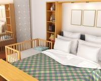 bedroom Berceau de bébé près du lit de parents illustration libre de droits