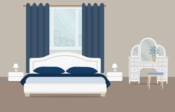 Bedroom in a blue color. There is a dressing table, a bed with pillows, bedside tables, lamps and other objects on a window background in the picture. Vector Stock Photography