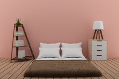 Bedroom with bookshelf with small lamp and cabinet in pink room in 3d rendering Stock Photo