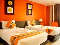 Bedroom bright orange Royalty Free Stock Image