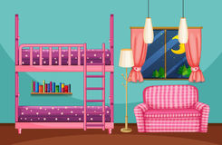 Bedroom with bunkbed and pink sofa. Illustration Royalty Free Stock Photos