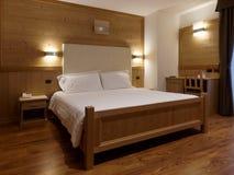 Bedroom at chalet. Interior shot Royalty Free Stock Photos