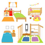 Bedroom, childs room, crib, Japanese style room. Interior  file Royalty Free Stock Photography