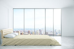 Bedroom with city view side Stock Photo