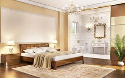 A bedroom in a classic style and a bathroom in a big house. A bedroom in a classic style and a bathroom in a house royalty free illustration