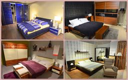 Bedroom collage. Different types of furnishing and decorating the bedroom Royalty Free Stock Photography