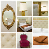 Bedroom collage. Interior design: Big modern Bedroom collage Stock Images