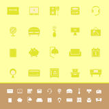 Bedroom color icons on yellow background Royalty Free Stock Images