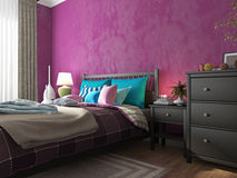 Bedroom with colored pillows and blankets on the bed Stock Images