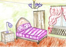 Bedroom Colored Sketch Royalty Free Stock Image