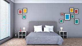 Bedroom with colorful paintings Stock Images