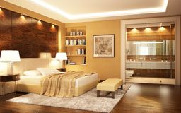 A bedroom combined with a bathroom in a modern style. A large bedroom combined with a bathroom in a modern style stock illustration