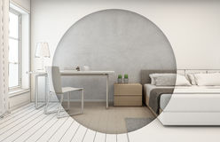 Bedroom with concrete wall background in modern house, Interior sketch design of home office Stock Photography