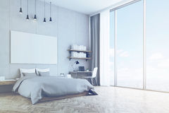 Bedroom with concrete wall and wooden floor, toned Royalty Free Stock Photo