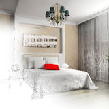 Bedroom in contemporary style Stock Photos