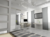 Bedroom in contemporary style Stock Image