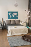 Bedroom for couple of travelers Royalty Free Stock Images