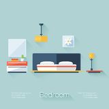 Bedroom Cover with Lamp, Chandelier and Nightstand. Flat Style with Long Shadows. Modern Trendy Design. Royalty Free Stock Image