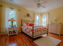 Bedroom in a custom home... Stock Image