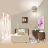Bedroom. Dasign interior bedroom hand draw illustration Royalty Free Stock Photos