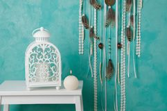 Bedroom decor on aquamarine Royalty Free Stock Images