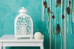 Bedroom decor on aquamarine Royalty Free Stock Photos