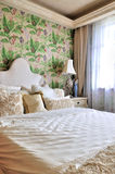Bedroom decorated in flowery style Stock Photo