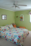 Bedroom decorated in green tones. _wide angle Stock Images