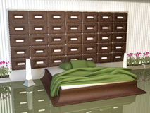 Bedroom of decorated leather inserts Stock Image