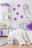 Bedroom with decorative wall Stock Photography