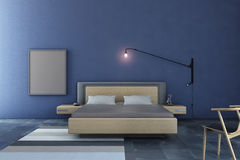 Bedroom deep blue Royalty Free Stock Photos