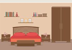 Bedroom design interior with furniture, bed, wardrobe, bookshelf. Stock Photo